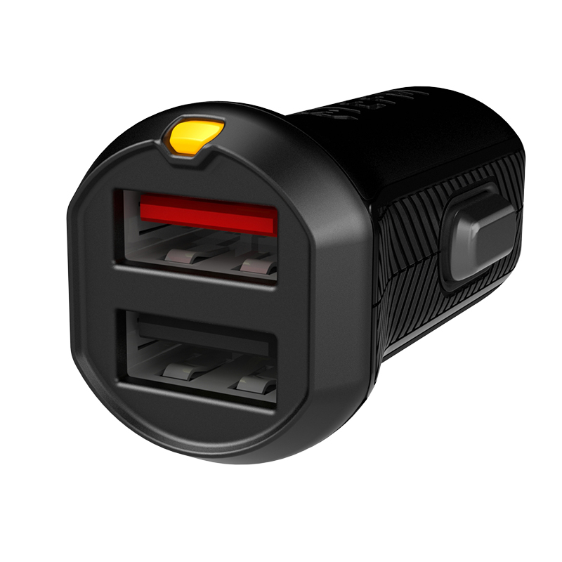 Dual Car Charger With 1m Lightning Charge Cable