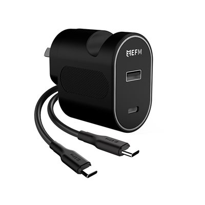 30W Dual Port Wall Charger with Type-C Cable